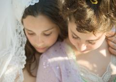 Preteen girls dressed in costumes - stock photo