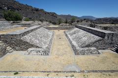 zapotec ballgame court in yagul - stock photo