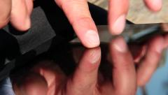 Male fingers touching tablet Stock Footage