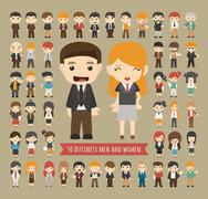 Set of 50 business men and women Stock Illustration