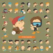 set of 42 sport characters - stock illustration