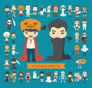 Set of 40 halloween costume characters Stock Illustration