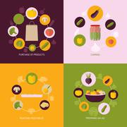 Vegetables icons flat set - stock illustration