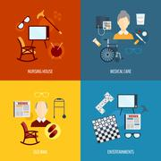 Pensioners life icons flat - stock illustration
