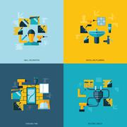 Home repair icons flat - stock illustration