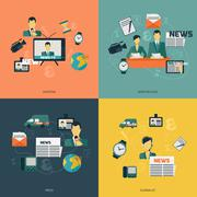 News icons flat Stock Illustration