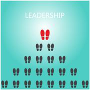 shoe prints with leadership concept, black vector trail foot, shoes silhouett - stock illustration