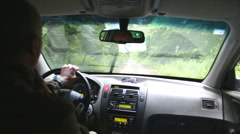 View of driver from driving car on the forest road. Stock Footage