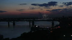 Night fireworks on the river ob in novosibirsk. russia. Stock Footage