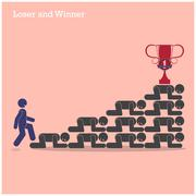Winner walk over stairs of loser concept. competition concept Stock Illustration