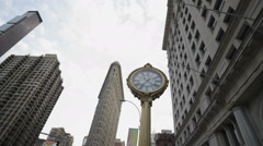 Flatiron Building 5th Ave Clock Manhattan New York City Traffic Tourism Bus NYC - stock footage