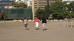 Three mature women walking Athens Greece 4K 017 Stock Footage