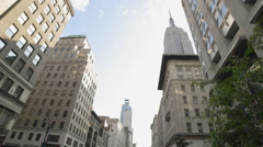 Empire State Building 5th Ave Manhattan New York City Taxis NYC Traffic - stock footage