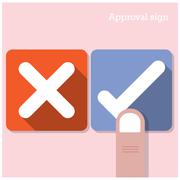 Approval concept. the best choice icons. Stock Illustration