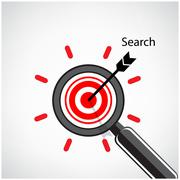magnifying glass and target concept background - stock illustration