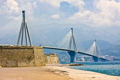 Suspension bridge crossing Corinth Gulf strait, Greece - stock photo