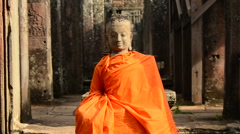 Stone Carving of Buddha at Angkor Wat Temple Cambodia Stock Footage