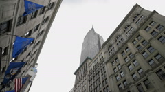 Empire State Building Flags 5th Ave Street View Manhattan New York City NYC - stock footage