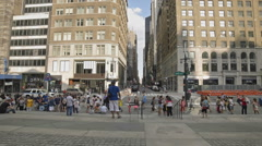 View from New York Public Library Manhattan NYC People Midtown NYPL Stock Footage