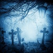 halloween illustration night cemetery old graves cats lanterns - stock photo