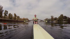 man rowing in professional boat - stock footage