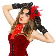 Burlesque. attractive girl in beautiful dress Stock Photos