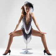burlesque. attractive girl in beautiful dress - stock photo