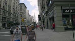 Stock Video Footage of Empire State Building People Walking 5th Ave Aldo Manhattan New York City NYC