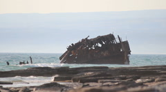 Old shipwreck off the shore of southern Cyprus Stock Footage