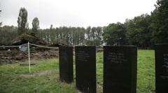 Auschwitz Birkenau fields of ash Stock Footage
