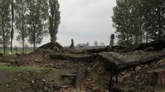 Auschwitz Birkenau gas chamber left over Stock Footage