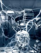 fantasy science laboratory. experiment with electrical energy. 3d illustratio - stock illustration