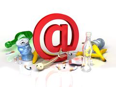 Stock Illustration of e-mail symbol in garbadge of spam. conceptual Internet illustration
