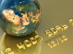 Stock Illustration of Abstract international gold credit card. Business illustration