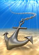 Stock Illustration of underwater anchor and volume light. Sea travel 3d illustration