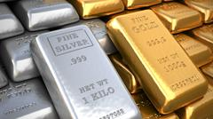 silver ingot and  gold bullion. finance illustration - stock illustration