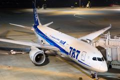 Ana all nippon airways boeing 787 dreamliner tokyo haneda airport at night Stock Photos