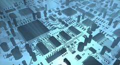 Computer inside, Fantasy circuit board or mainboard. Technology 3d illustration - stock illustration