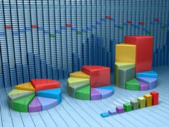 Stock Illustration of stock market data with different graphs and charts. business 3d illustration