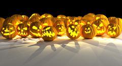 Halloween pumpkinsy. fantasy 3d illustration Stock Illustration
