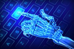 Stock Illustration of robot works on glowing keyboard. futuristic 3d illustration