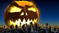 Giant monster pumpkin attacked a city. Fantasy halloween 3d illustration - stock illustration
