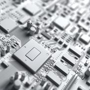 Stock Illustration of fantasy white circuit board or mainboard. top view. 3d illustration