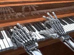 Robot plays the piano.  high technology 3d illustration Stock Illustration