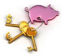 piggy bank - keychain and different money keys. key to the dollar, euro and y - stock illustration