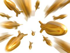 fantasy gold bullets or rockets fly to camera. isplated on white - stock illustration