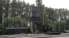 Auschwitz Birkenau memorial sign Stock Footage