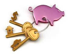 piggy bank - keychain and different keys. key to the house, car and money. co - stock illustration
