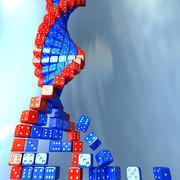 dna spiral made of game dice. conceptual science 3d illustration - stock illustration