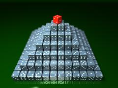 pyramide made of dice on game table in a casino. concept - stock illustration